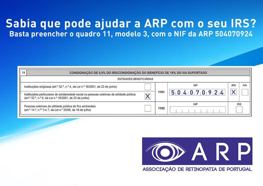 IRS SOLIDÁRIO: Contribua 0.5% do seu IRS à ARP