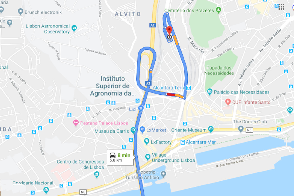 Percurso de 5,8Km - 8 minutos