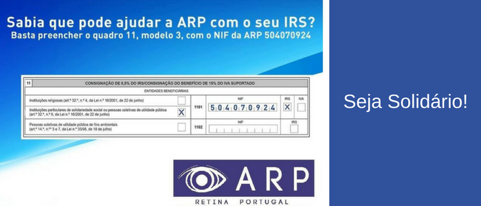 Ajude a ARP com o seu IRS. Preencha o quadro 11, modelo 3, com o NIF da ARP: 504070924